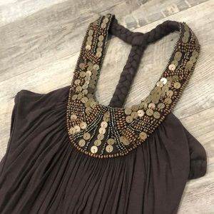 NWT Sky Ornate Chocolate Brown Halter Size S